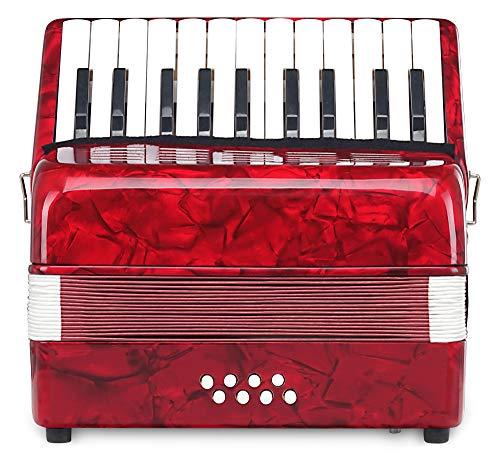 Classic Cantabile Secondo Junior 8-Bass Akkordeon (22 Diskanttasten, 8-Basstasten, inkl. Tragerriemen und Gigbag) rot