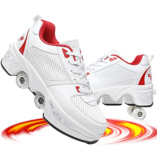 shoes with wheels for adults NNZZY Roller Skates for Women Outdoor, Parkour Shoes with Wheels, Rollers Shoes Retractable Adults/Kids, Quad Roller Skates Men,Unisex Skating Shoes Recreation