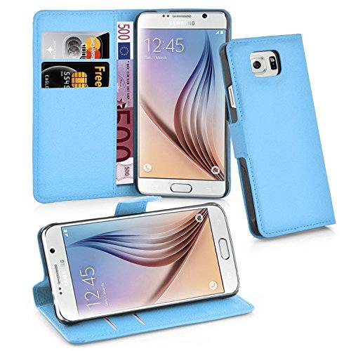 Cadorabo Funda Libro para Samsung Galaxy S6 en Azul Pastel - Cubierta Proteccíon con Cierre Magnético, Tarjetero y Función de Suporte - Etui Case Cover Carcasa