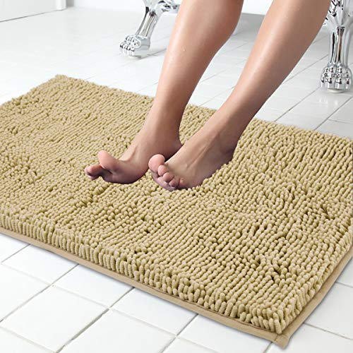 ITSOFT Non Slip Shaggy Chenille Soft Microfibers Bath Mat for Bathroom Rug Water Absorbent Carpet, Machine Washable, 34 x 21 Inches Beige