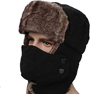 Hat Fashion Hunting Hat for Men and Women Ear Flap Chin Strap and Windproof Mask Unisex Winter Trooper Hat Fashion Accessories (Color : Black)