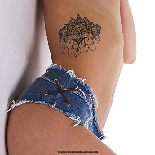 2 x Lotus Tattoo Mandala Blume schwarz fake Tattoo wasserdicht - No China! (2)