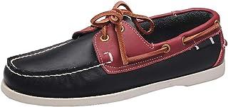 XFQ Chaussures Bateau Homme, Chaussures De Pont Classique en Cuir Ville Chaussures Casual,Blue Red,45EU