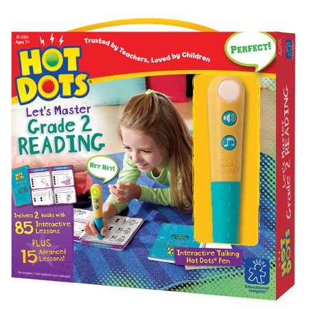 Educational Insights Hot Dots Let's Master 2nd Grade Reading Set, Homeschool & School Readiness Learning Workbooks, 2 Books & Interactive Pen, 100 Reading Lessons, Ages 7+