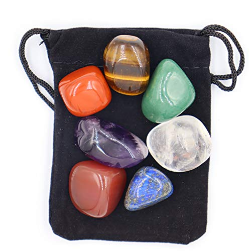 Chakra-Stein ,Kristallstein Heilkristalle zur Verwendung als 7 Chakra-Steine und Sorgensteine zur Erdung Ausgleich beruhigendes Meditations-Reiki (7er-Set)