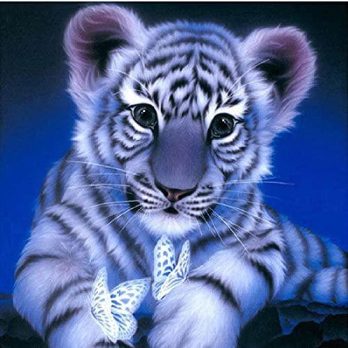 Kit pintura diamante 5D Tigre - DIY adultos niños cristal bordado Punto Cruz regalos decor pared del hogar Manualidades 30x40cm