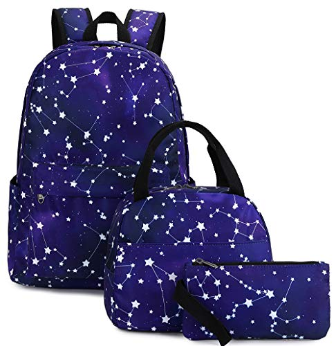 Girls School Backpack Galaxy Schoolbag Laptop Bookbag Insulated Lunch Tote Bag Purse Teens Boys Kids (Blue Constellation star)