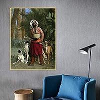 キャンバスプリントジャンレオンジェローム《猟犬の達人》キャンバス油絵世界的に有名なアートワーク写真壁の装飾家の装飾70x100cmフレームレス