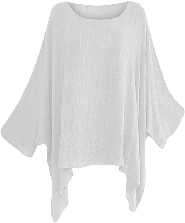 Summer Women Cotton Linen Tshirt Plus Size Tops Long Sleeve Casual O Neck Tunic Tees Bat Shirt Pullover Loose Blouses