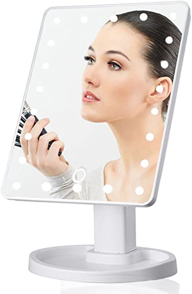 Balloonbobo Lighted Makeup Mirror With Magnification Vanity Mirror With 16 22 Lights Screen Switch Make Up Mirror Portable Makeup Accessories White 16 LED