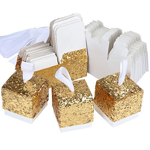TsunNee Süßigkeitenschachteln aus Papier, glitzernd, für Hochzeit, Gastgeschenk, Party, Geschenkbox, kreative Papierboxen gold