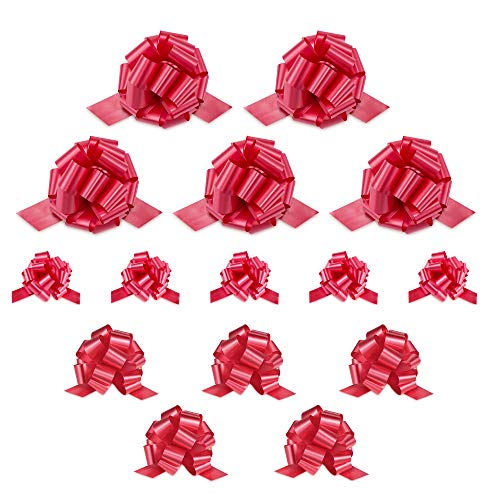 """Zoe Deco Gift Bows (Red, 5"""" Wide, 18 Loops, 10 Pack), Weather Resistant Gift Bow, Red Pull Bows, Bows for Gifts, Gift Bows for Presents, Gift Wrapping and Decoration"""