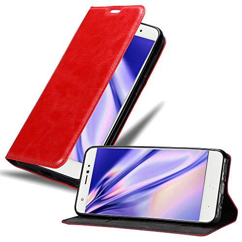 Cadorabo Hülle für BQ Aquaris X in Apfel ROT - Handyhülle mit Magnetverschluss, Standfunktion & Kartenfach - Hülle Cover Schutzhülle Etui Tasche Book Klapp Style