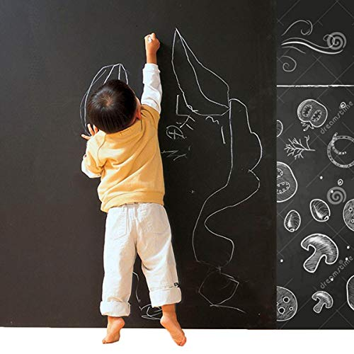 CUSFULL Self-Adhesive Blackboard Removable Chalkboard Wall Sticker for Home,Office & Decor 35.4' x 78.7'-Black