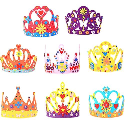 8 Piezas Coronas Princesas para Niñas Manualidades, Corona de Fieltro DIY Coronas, Tiara Princesa Creativa para Regalos de Cumpleaños Decoraciones y Artículos para Fiestas