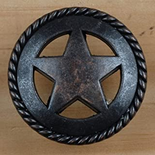 Set of 6 Rustic Rope Lone Star Drawer Pulls Cabinet Knobs Western Southwest Decor Texas (Oil Rubbed Brass)