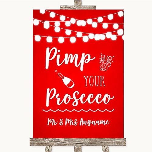 Bruidsbord Poster Print Rode aquarel lichten Pimp uw Prosecco kan volledig worden aangepast elke tekst of kleur - Perfect Venue Decoratie (A5) Small