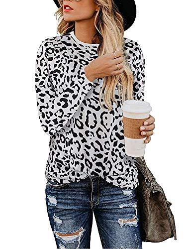 Vrouwen Luipaard Print Shirts Basic Tunieken Ronde hals Comfy Tops Lange Mouw Mode Blouse