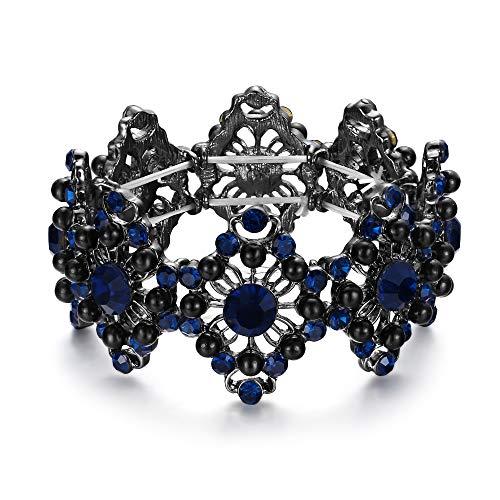 Clearine Armreif Hochzeit Braut Diamant Geformte Simulierte Perle Kristall Edelstein Perlen Stretch Armband für Damen Schwarz-Ton Saphir-Blau