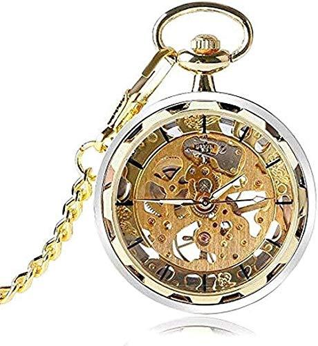 YOUZYHG co.,ltd Collar de Oro Steampunk Skeleton Hand Lift Reloj de Bolsillo mecánico con Cadena para Hombres y Mujeres
