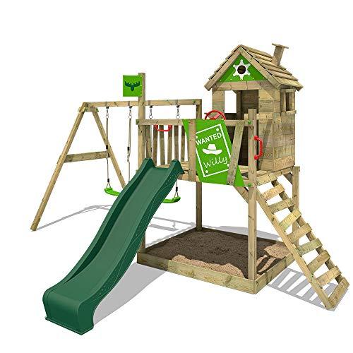 FATMOOSE Speeltoestel voor tuin RockyRanch met schommel en groene glijbaan, Houten speeltuig, Speelhuis voor buiten met zandbak en klimladder voor kinderen