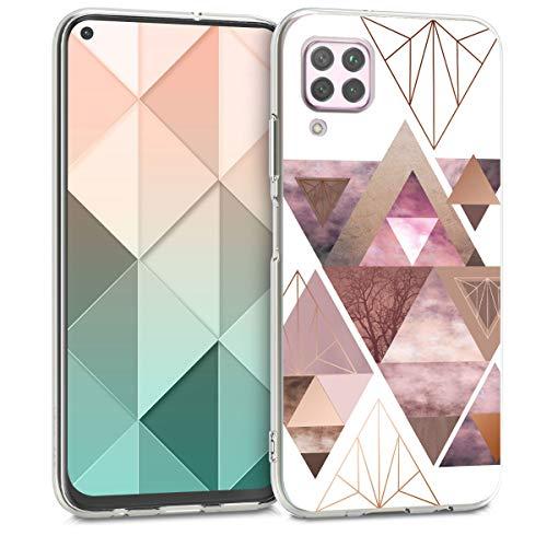 kwmobile Hülle kompatibel mit Huawei P40 Lite - Handyhülle - Handy Case Glory Dreieck Muster Rosa Rosegold Weiß