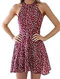 Lannister Fashion Vestido Summer Mujer Elegantes Modernas Boho Vestidos Informales Woman Corto Hombros Descubiertos Espalda Descubierta Mini Florales Vestido Señora Moda Fiesta