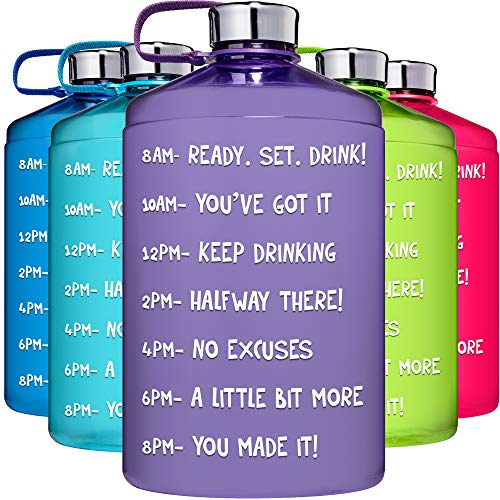 HydroMATE 1 Gallon Motivational Water Bottle with Time Marker Large BPA Free Jug with Handle Reusable Leak Proof Bottle Time Marked to Drink More Water Hydro MATE 128 oz (Gallon, Light Purple)