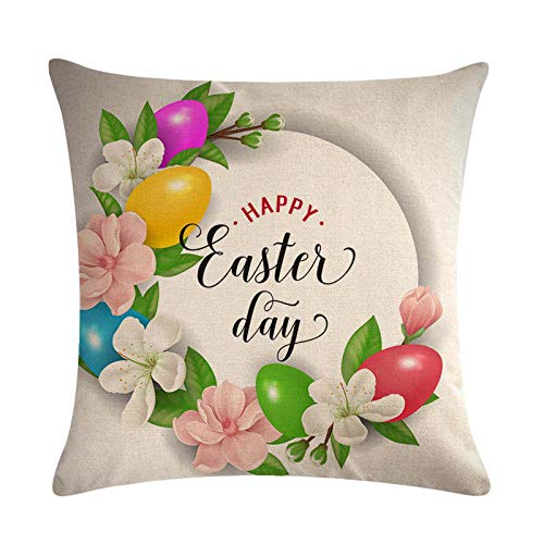 Watopia 1 funda de almohada de Pascua, cuadrada, estampada, fundas de cojín para sofá, decoración del hogar, 45 cm x 46 cm.