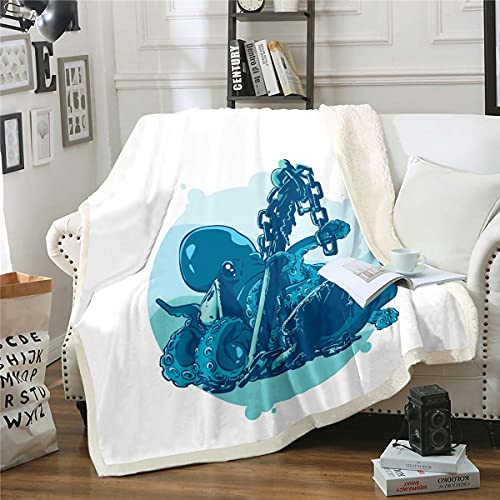Octopus - Manta de sherpa con estampado de océano Kraken, manta de felpa con temática marina para niños y niñas, patrón de animales subacuáticos, manta difusa para sofá cama, bebé 76 x 100 cm