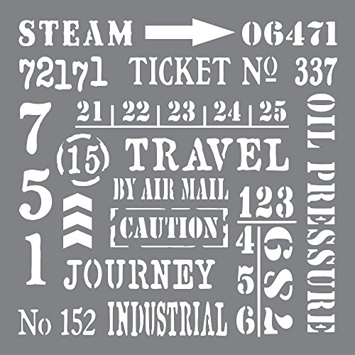 Andy Skinner Mixed Media Industrial Elements Stencil, Grey, 8 x 8-inch