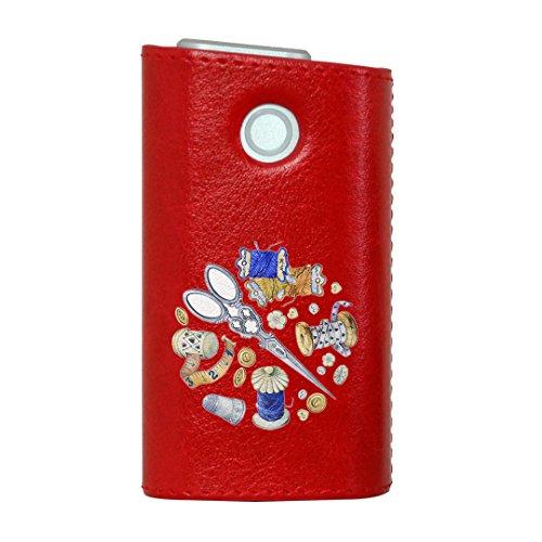 glo グロー グロウ 専用 レザーケース レザーカバー タバコ ケース カバー 合皮 ハードケース カバー 収納 デザイン 革 皮 RED レッド 裁縫 道具 014162
