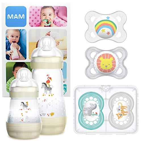 New: MAM First Steps Set, Regalo per neonato, Set di biberon con 2x Easy Start biberon anticolica 160 260 ml, 4x Original ciuccio in silicone (2x 0-6 e 2x 6+ mesi), Unisex