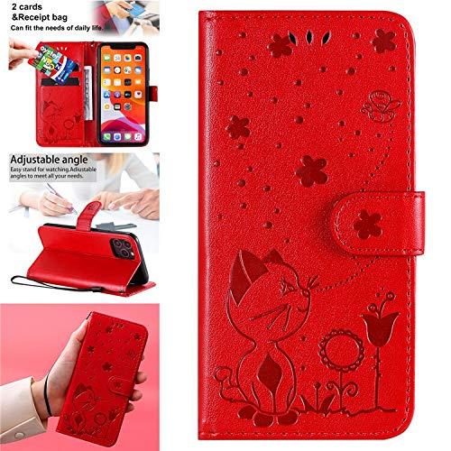 QiuKui Cases LG K8 K10 2017 K40 K41 - Funda de piel con tapa para LG Q60 K50 K51 K61 G7 G8 ThinQ G9 Stylo 4 6 (color: rojo, material: para LG K41S)