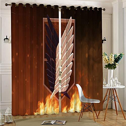 STTYE Juego de cortinas de bloqueo de luz anime Attack On Titan, 2 paneles de tratamiento de ventana, 75 x 166 cm x 2 piezas