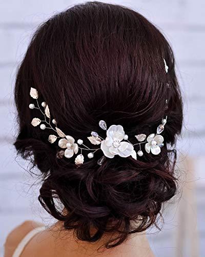Unicra Braut Hochzeit Haar Ranken Silber Blume Kopfschmuck Braut Blatt Haar Accessoires für Frauen und Mädchen