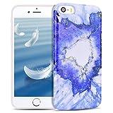 SpiritSun Funda para iPhone 5 / 5S / SE Mármol Funda Silicona Carcasa Ultra Delgado y Ligero Flexible TPU Caja Suave Cover Case Cristal Gel Protectora Caso Anti Golpes Parachoques - Azul