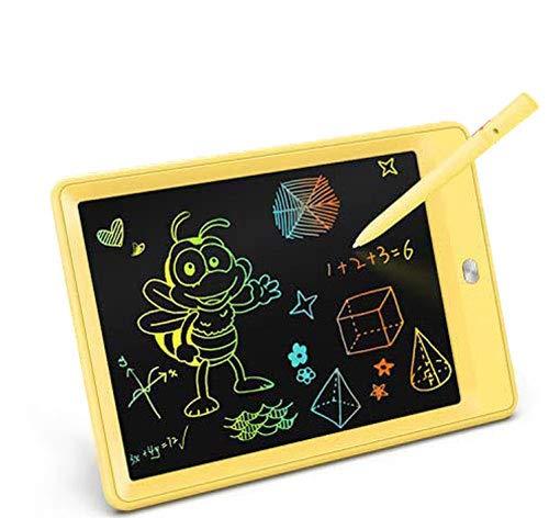 TEKFUN LCD schreibtafel 10 Zoll, buntes magnetisches maltafel zaubertafel, Löschbar und wiederverwendbar schreibtafel, Spielzeug ab 3 Jahre,kinderspiele,Geschenk mädchen,Lehrmittel für Kinder (Gelb)
