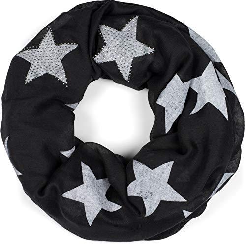 styleBREAKER Loop Schal mit Sterne Muster und edler Strass Applikation, Schlauchschal, Tuch, Damen 01018086, Farbe:Schwarz-Weiß (One Size)