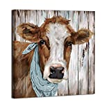 Cow canvas decor, farmhouse wall art pictures for Bathroom Bedroom Living Room Kitchen Wall Decor (COW, 14'x14')