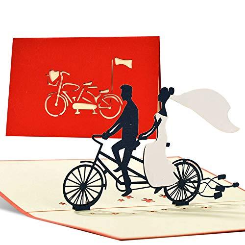 Invitaciones de boda 3d con pareja romantica recien casada en bici. Tarjetas felicitacion boda, tarjetas boda y tarjetas felicitacion como regalos originales, L17AMZred