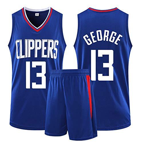 Camiseta De Uniformes De Baloncesto para Hombre, Los Angeles Clippers #13 Paul George Conjunto De Entrenamiento Juvenil Camiseta De Chaleco Competición Pantalones Cortos,Azul,3XL
