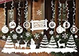 Yoillione Fensterbilder Weihnachten Fensteraufkleber,Wandtattoo Weihnachten Weiß,Weihnachts Fensterbild Weihnachtsbaum Wandaufkleber/Kugeln/Schneemann/Rentier