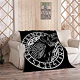 Norse Mythology Blanket,Plush and Warm Home Soft Cozy Portable Fuzzy Throw Blankets for Couch Bed Sofa,Cawing Black Crows in A Circle of Scandinavian Runes Carved Into Stone Isolat,50