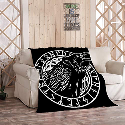 Norse Mythology Blanket,Plush and Warm Home Soft Cozy Portable Fuzzy Throw Blankets for Couch Bed Sofa,Cawing Black Crows in A Circle of Scandinavian Runes Carved Into Stone Isolat,50'x60'