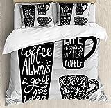 ABAKUHAUS Kaffee Bettbezug Set Doppelbett, Container Silhouette, Kuscheligform Top Qualität 3 Teiligen Bettbezug mit 2 Kissenbezüge, Hellgrau Schwarz