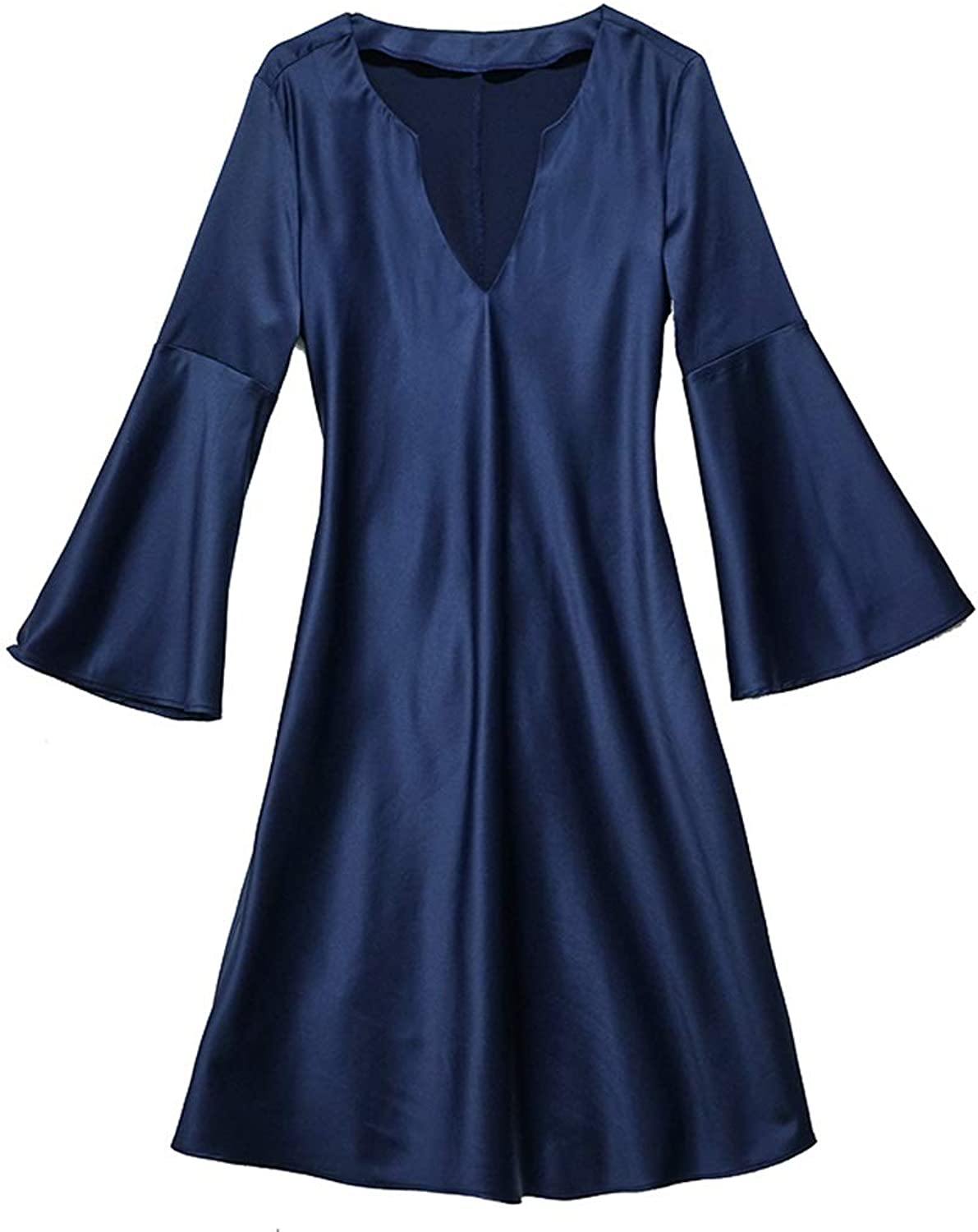 Home Service Female Spring and Summer Sexy Silk Nightdress LongSleeved Pajamas (color   Navy, Size   L)
