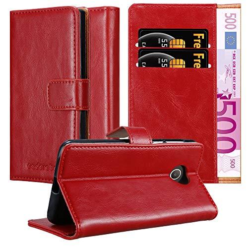 Cadorabo Custodia Libro per Huawei Y330 in Rosso Vinaccia - con Vani di Carte, Funzione Stand e Chiusura Magnetica - Portafoglio Cover Case Wallet Book Etui Protezione