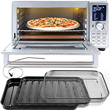 NUWAVE BRAVO XL 1800-Watt Convection Oven with Crisping and Flavor Infusion Technology  FIT  with Integrated Digital Temperature Probe for Perfect Results  12 Programmed Presets  3 Fan Speeds  5-Quartz Heating Elements  Precision Temperature Control from 100F to 450F in 5F increments  Cook up to a 10 LB Chicken 13 inch Pizza or 9 Slices of Toast  Air Fry Broil Bake Roast Grill Toast  Dehydrate Warm and Reheat  NuWave Bravo Convection Oven
