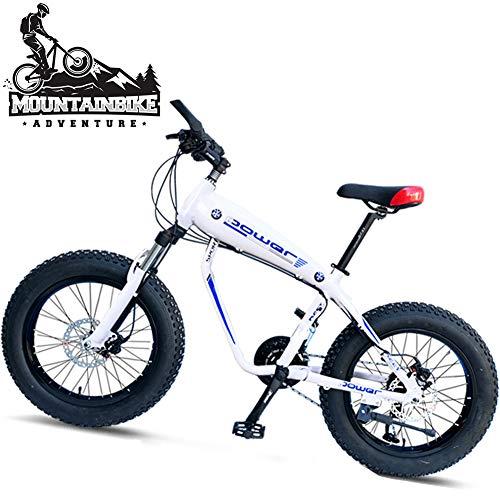 NENGGE Fat Tire Mountain Bikes 20 Inch, Men Women Hardtail Trail Bike with Front Suspension, Dual Disc Brake Anti-Slip Mountain Bicycle, Adjustable Seat & Aluminum Alloy Frame,White Spokes,30 Speed